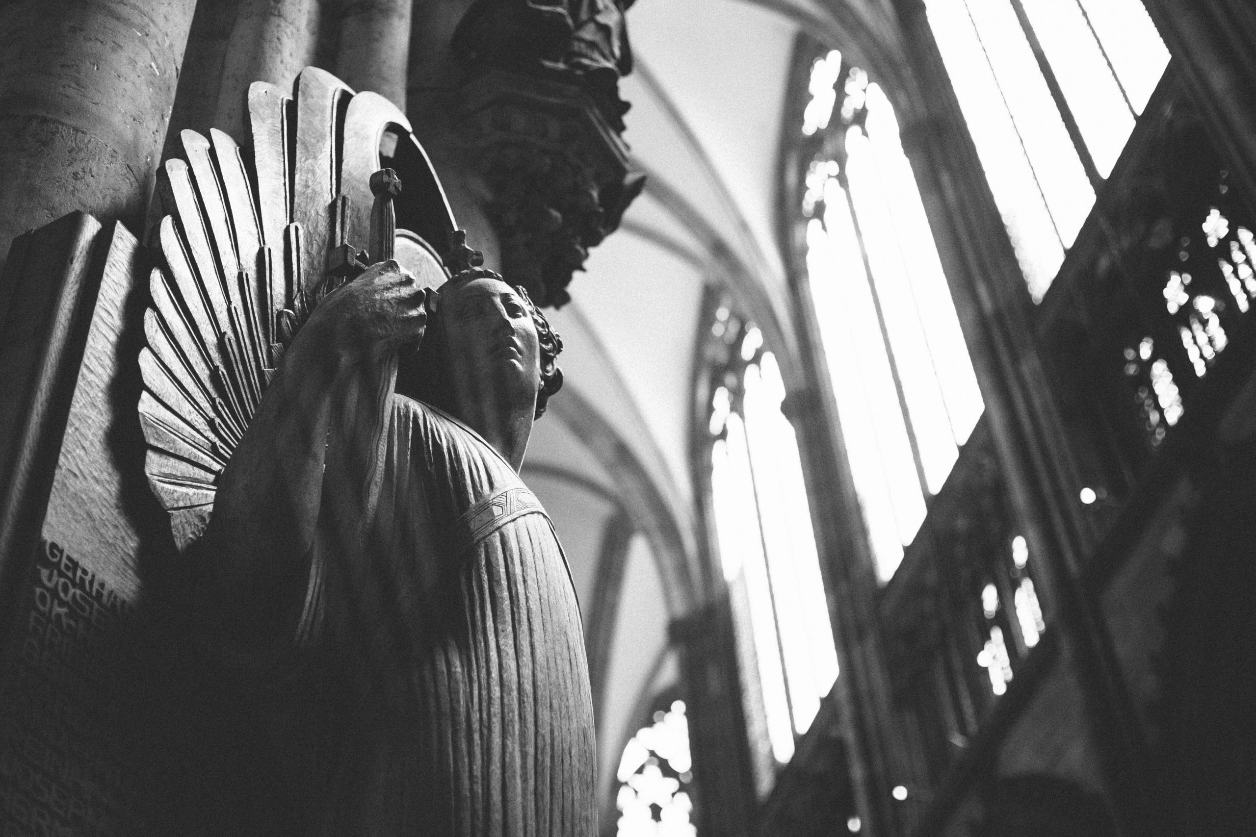 A statue inside the Cologne Cathedral in Cologne, Germany
