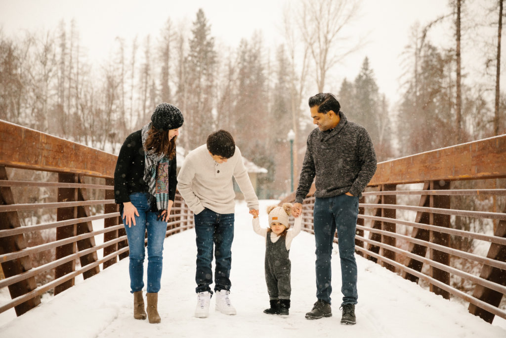 Ahmad Winter Family Portraits in Whitefish Montana at Riverside Park